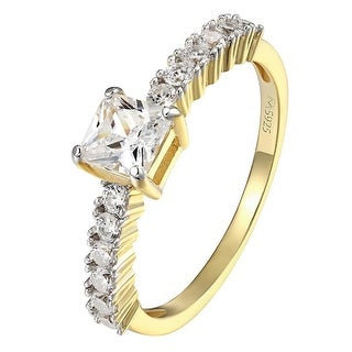 Womens Princess Cut Solitaire Wedding Ring 14k Gold Over Sterling Silver Promise - Yellow