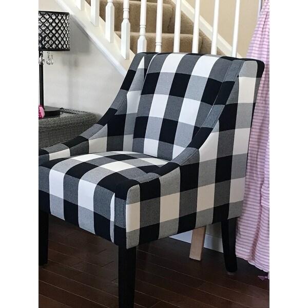 Shop Homepop Modern Swoop Accent Chair Black Plaid On Sale