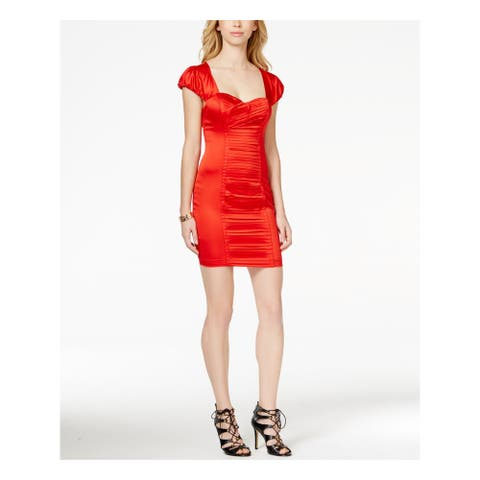 GUESS Red Cap Sleeve Above The Knee Dress 2
