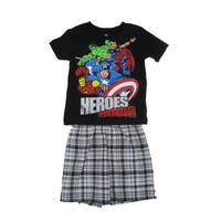 "Marvel Little Boys Black ""Heroes Rock"" Short Sleeve 2 Pc Shorts Outfit"