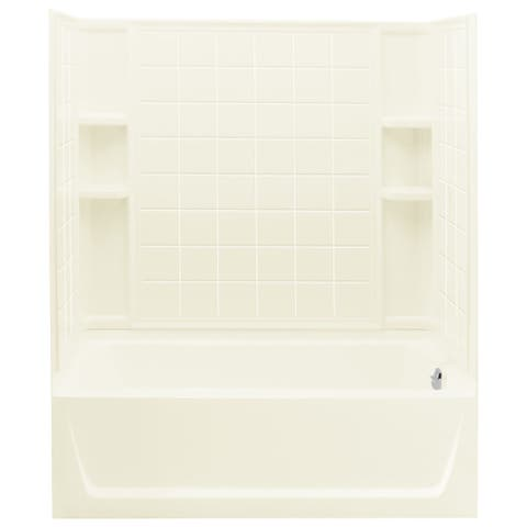 "Sterling 71120128 Ensemble 60"" x 33-1/4"" x 77-1/4"" Vikrell Shower with Drain Right, Tile Design and Age-in-Place Backers"