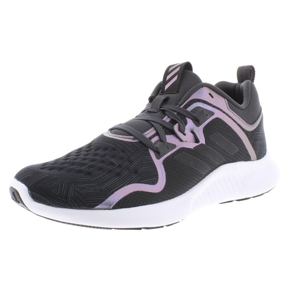 Adidas Womens Edge Bounce Running Shoes Knit Lace-Up - Carbon/Black/Night Metallic