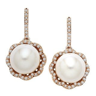 Freshwater Pearl and 1/4 ct Diamond Drop Earrings in Sterling Silver and 14K Rose Gold
