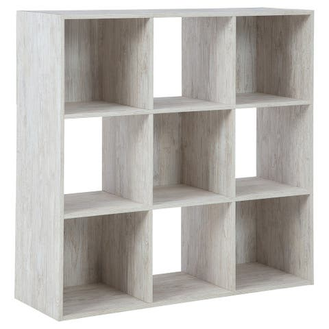 9 Cube Wooden Organizer with Grain Details, Washed White