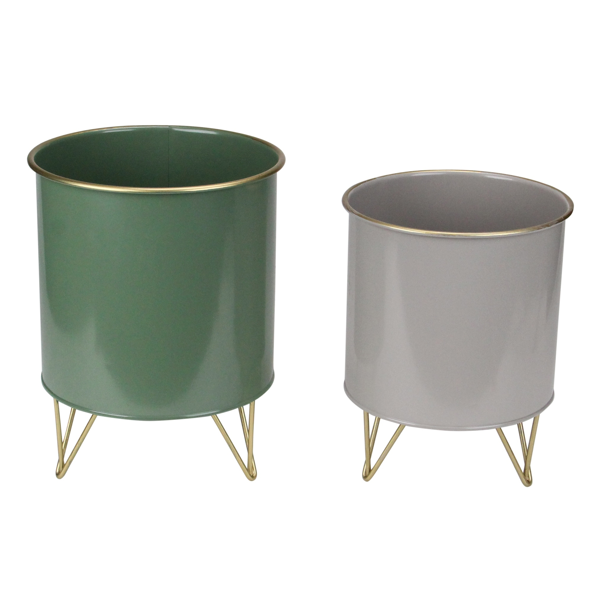 Set of 2 Gray and Green Cylindrical Outdoor Planters with Base 9.75 - N/A