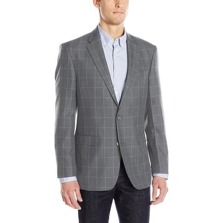 Tommy Hilfiger Mid Gray Heather Windowpane Check Sportcoat 46 Regular 46R