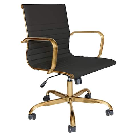 LeisureMod Harris Leatherette Swivel Gold Frame Office Chairs