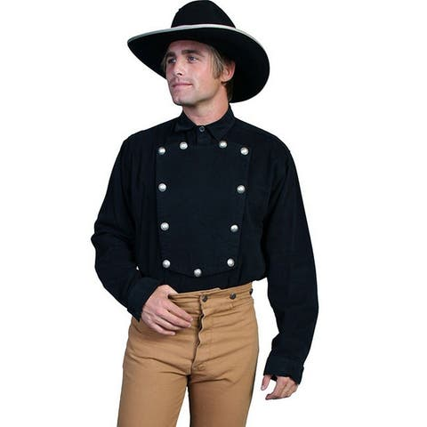 Scully Western Shirt Mens Bib Twill Cotton Long Sleeve