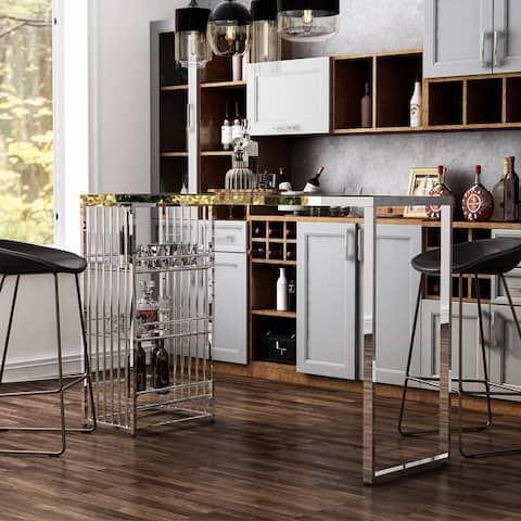Furniture of America Marburry Contemporary Chrome Glass Top Bar Table