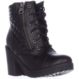 Rampage Harrison Quilted Lace Up Ankle Boots - Black