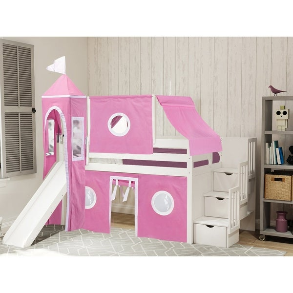 JACKPOT Prince & Princess Low Loft Bed, Stairs & Slide, Tent & Tower - 87 1/2 high x 98 wide x 84 3/4 inches deep. Opens flyout.
