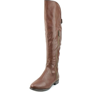 Rialto First Row Wide Calf Women Round Toe Synthetic Brown Knee High Boot