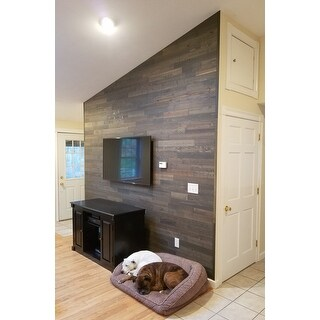 Timberchic Reclaimed Wooden Wall Planks - Peel and Stick Application (20 Sq. Ft.) (Breakwater) - Grey