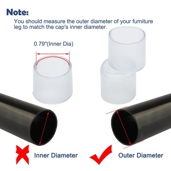 White Leg Caps End Tip Rubber Feet Cover Furniture Glide Floor Protector 5pcs