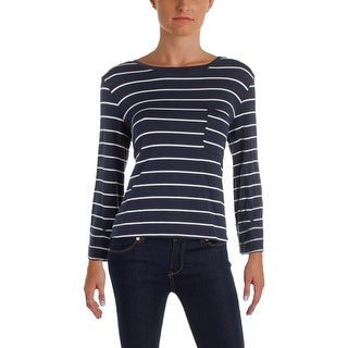 Splendid Womens Pullover Top Striped Lace Up Back