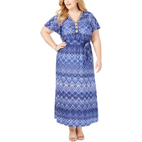 NY Collection Womens Embellished Maxi Dress, Blue, 1X