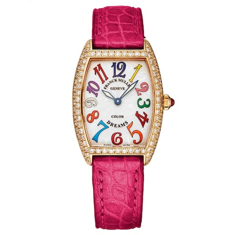 Franck Muller Women's 1752 QZ D COL DR 5N PK 'Casablanca' Color Dreams 18K Rose Gold Diamond Pink Strap Watch