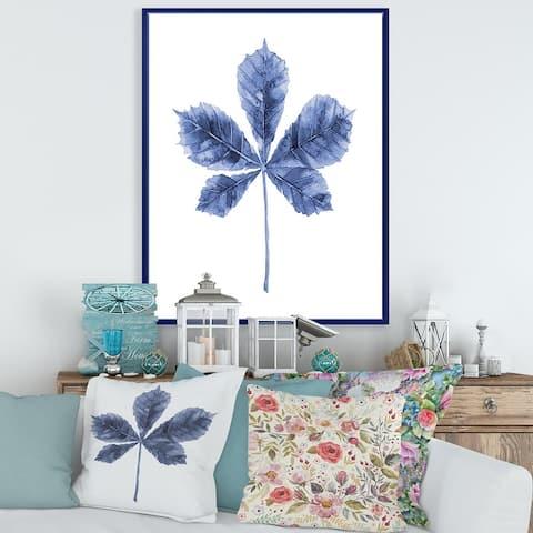 Designart 'Navy Blue Chestnut Leaf' Traditional Framed Canvas Wall Art Print