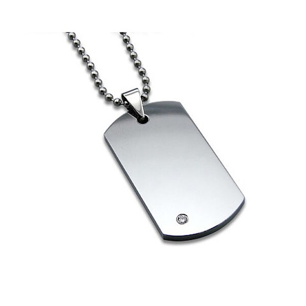 Tungsten Carbide Dog Tag with CZ on 22 Inch Bead Chain