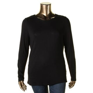 NYDJ Womens Casual Top Faux Suede Trim Long Sleeve