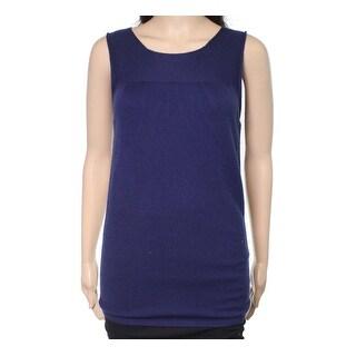 Escada NEW Navy Blue Womens Size Large L Seamed Wool Knit Tank Top