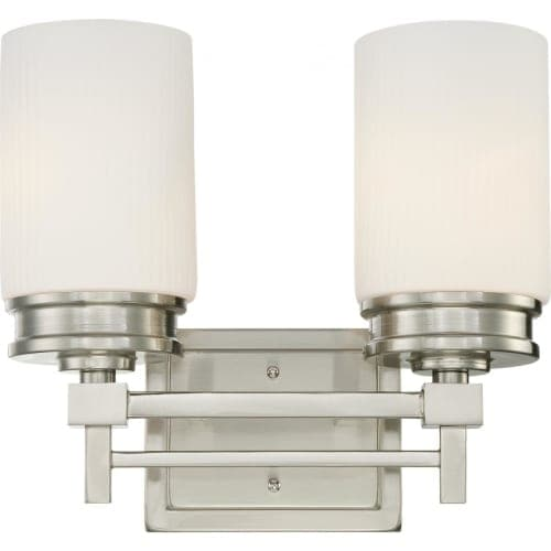 Nuvo Lighting 60/4702 Wright Two Light Bathroom Fixture with Satin White Glass