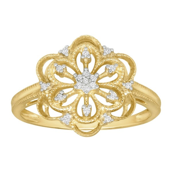 3/8 ct Rosette Ring with Diamonds in 10K Gold