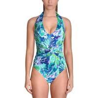 Lauren Ralph Lauren Womens Floral Print Halter One-Piece Swimsuit