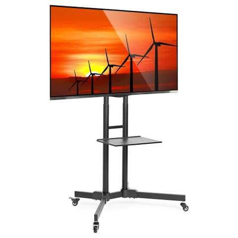 "Mobile Stand with Wheels for 32-65"" TV by Mount Factory - Black"