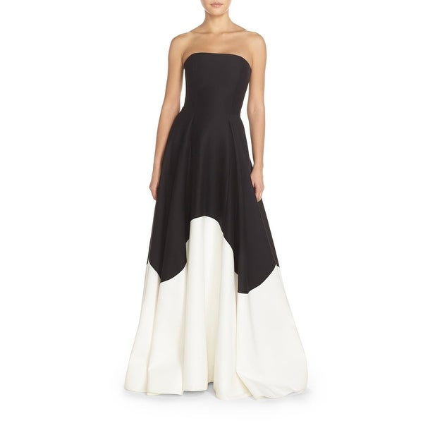 aba6692b776a Shop Halston Heritage Black White Womens Size 8 Colorblock Silk Gown ...