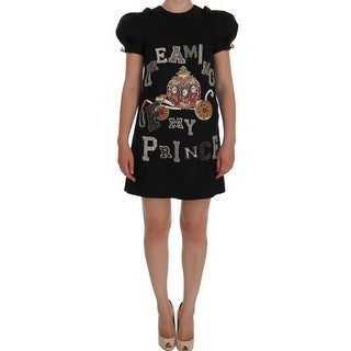 "Dolce & Gabbana Gray Crystal ""Dreaming of My Prince"" Dress - it36-xs"