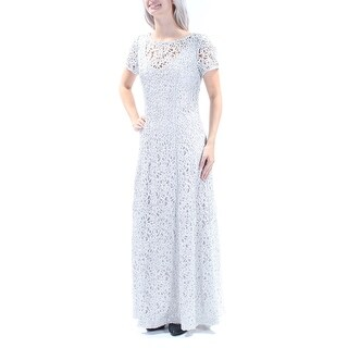 Womens Silver Short Sleeve Full Length Mermaid Formal Dress Size: 12
