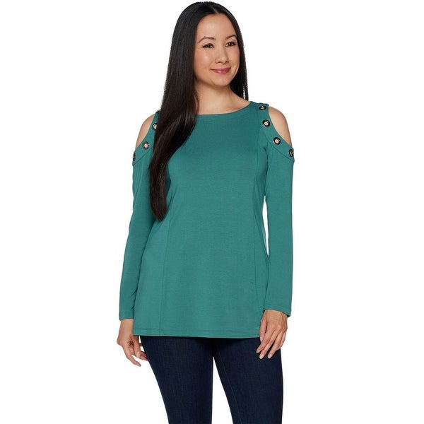 Belle by Kim Gravel Womens Plus Cold Shoulder Top with Grommets 1X Green A292968. Opens flyout.