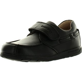 Biomecanics Boys Leather Single Strap Moccasin Dress Casual Shoes - Black