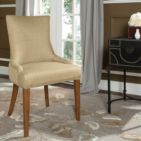 "Safavieh Dining Becca Beige Viscose Walnut Finish Dining Chair - 22"" x 24.8"" x 36.4"""