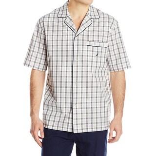 Nautica NEW Beige Plaid Mens Size Medium M Nightshirt Shirt Sleepwear