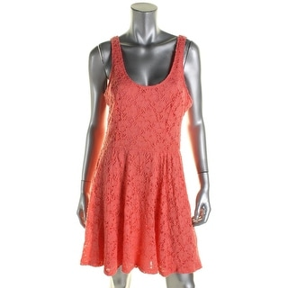 Jessica Simpson Womens Juniors Layla Sundress Lace Overlay Fit & Flare