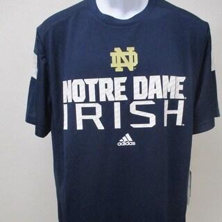 Notre Dame Fighting Irish Mens Size M L Blue Adidas Shirt 50