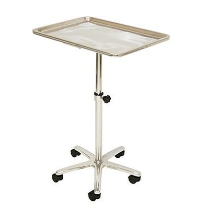 LCL Beauty Extra Large Stainless Steel Single-Post Mayo Instrument Stand and Work Tray