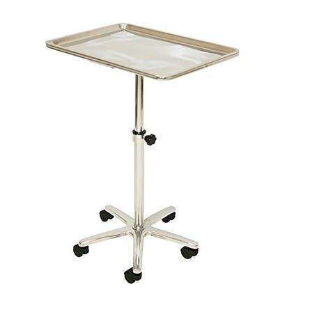 Extra Large Stainless Steel Single-Post Mayo Instrument Stand & Work Tray