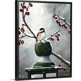 """""""Chickadee In The Snow"""" Black Float Frame Canvas Art"""
