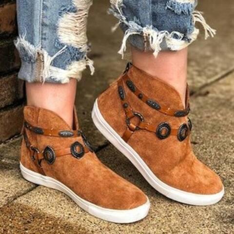 Flat Leather Suede Zipper Booties