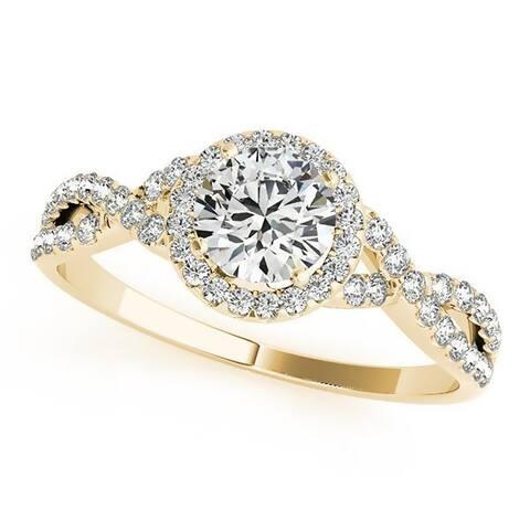Auriya 14k Gold 1 1/2ct Twisted Moissanite Halo Diamond Engagement Ring 1/5ctw