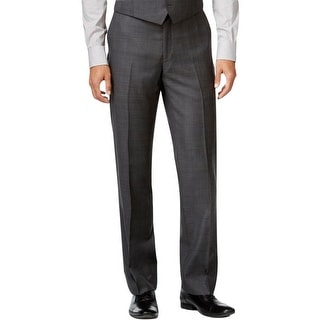 Ryan Seacrest Mens Dress Pants 100% Wool Plaid