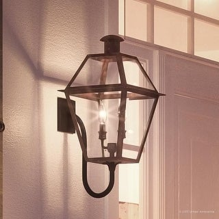"""Luxury Historic Outdoor Wall Light, 23.5""""H x 10.5""""W, with Tudor Style, Antique Gas Lantern Design, Rustic Copper Finish"""