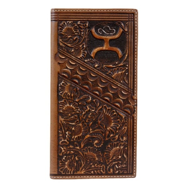 HOOey Western Wallet Men Rodeo Scalloped Floral License Slot - 3 1/2 x 3/4 x 7