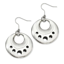 Stainless Steel Polished Circle Cut Out Dangle Earrings