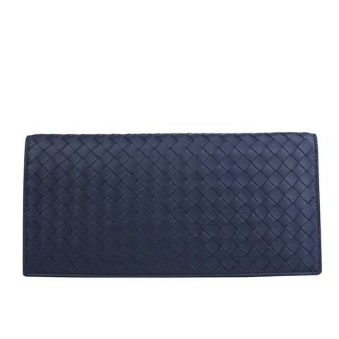 Bottega Veneta Unisex Woven Navy Blue Leather Large Clutch Wallet 390879 4130