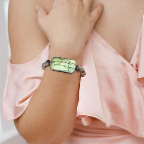 Natural Labradorite Stretch Bracelet Healing Handmade Gemstone Women Jewelry