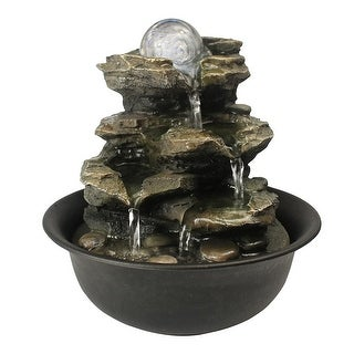 Link to Rock Cascading Tabletop Waterfall Fountain , Desktop Patio waterfall with LED Ball for Table Desk Office Home Bedroom Relaxation Similar Items in Outdoor Decor